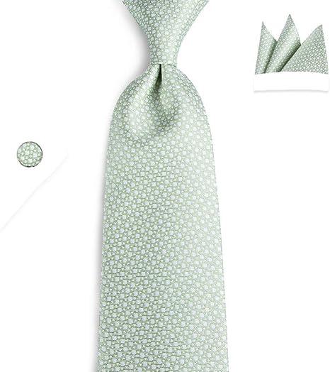 KYDCB Pañuelo de Corbata de poliéster Verde Gemelos Conjuntos para ...