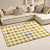 Yochoice Non-slip Area Rugs Home Decor, Hipster Funny Emoji Emoticon Face Floor Mat Living Room Bedroom Carpets Doormats 60 x 39 inches