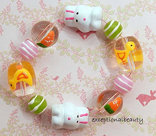 Hand Painted Lampwork Glass Beads Pastel Spring Easter Themed Bunny Carrot Chick -