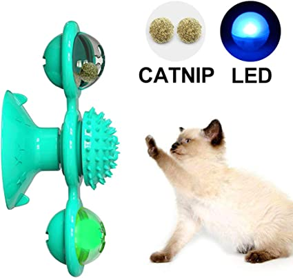 Cat Turntable Teasing Interactive Toy Amakunft Windmill Cat Toy with Led Ball and Catnip Ball Funny Kitten Windmill Ball Massage Scratching Tickle