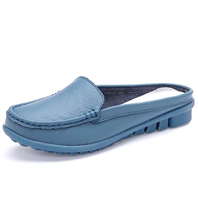 U Buy Women's Backless Slip-On Loafer Mules Flat Leather Shoes