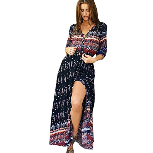 82a1782ad55 Women s Button Up Split Floral Print Flowy Party Maxi Dress V Neck 3 4  Sleeve