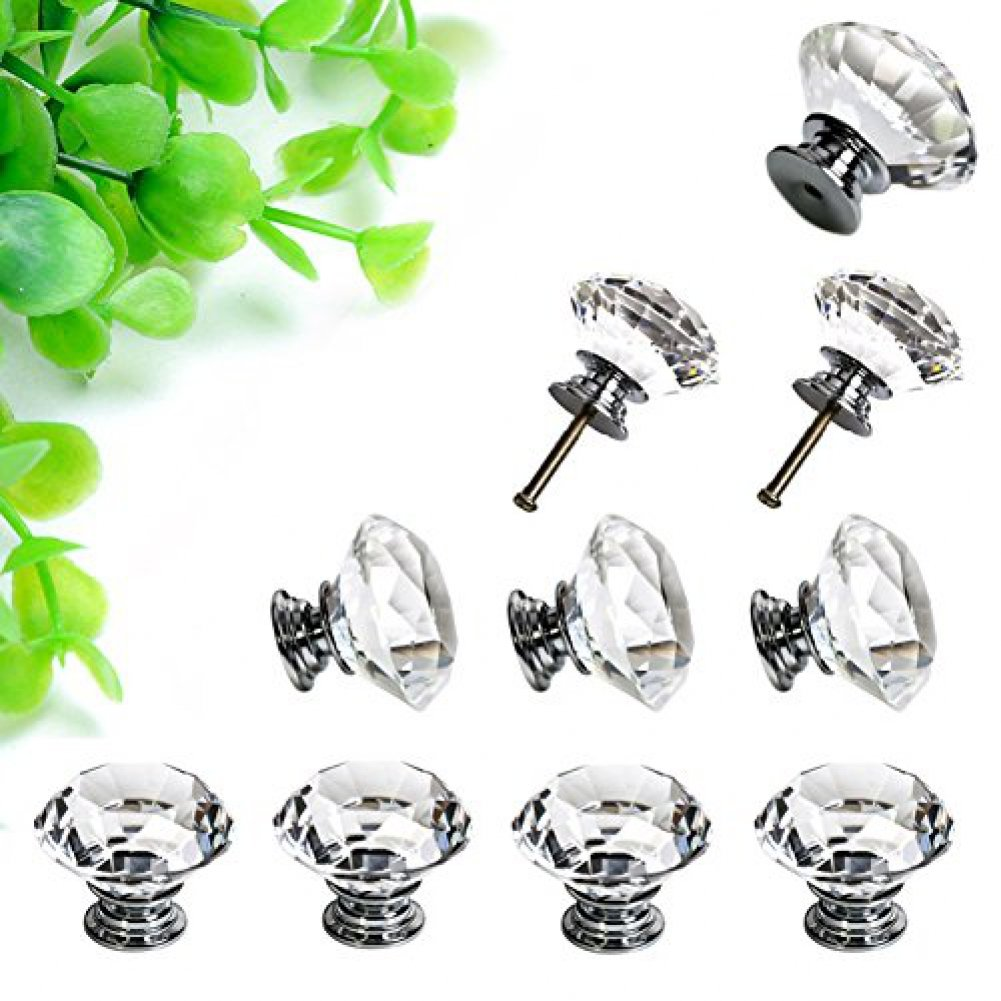 Amazon.com: Sumnacon® 10 Pcs 40MM Clear Crystal Door Knobs   Diamond  Wardrobe Doorknob/ Crystal Drawer Knobs / Cabinet Handle Pulls / Cupboard  Handle Knobs ...