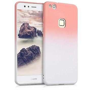 kwmobile Funda para Huawei P10 Lite - Carcasa de [TPU] para móvil y diseño Bicolor en [Rosa Claro/Blanco]