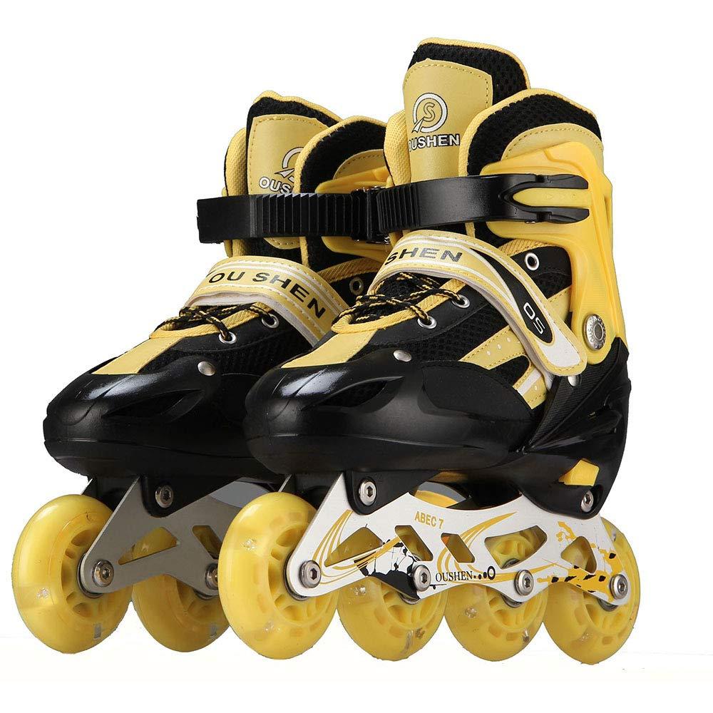 調節可能な1列スケート靴 安全で快適な通気性ローラースケート 屋内/屋外フィットネスローラースケート キッズギフト L イエロー Large イエロー B07QP99RQW