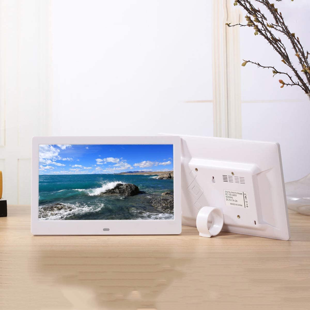 Multifunctional Touch All-in-one Machine Commercial Advertising Machine Supports 1080P Black Color//White Color 10-inch high-Definition Digital Photo Frame