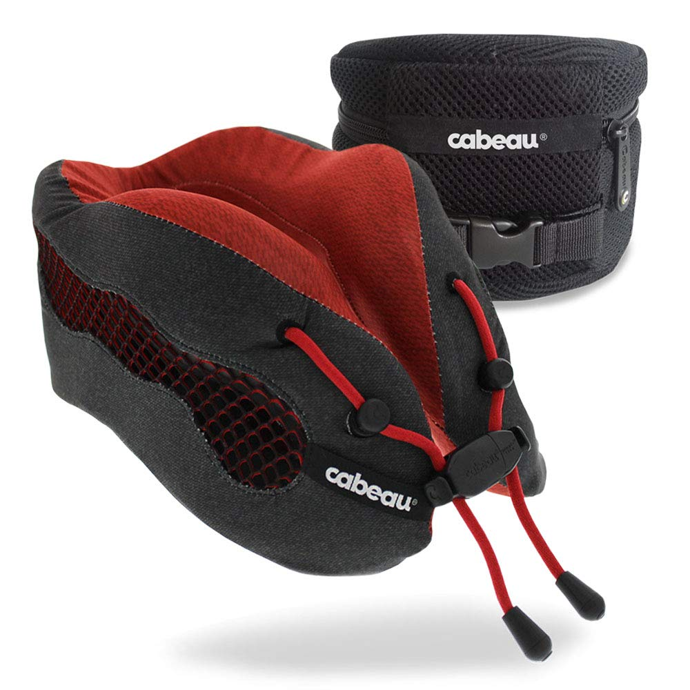 Cabeau Evolution Cool Travel Pillow- The Best Air Circulating Head and Neck Memory Foam Cooling Travel Pillow - Red Inc.