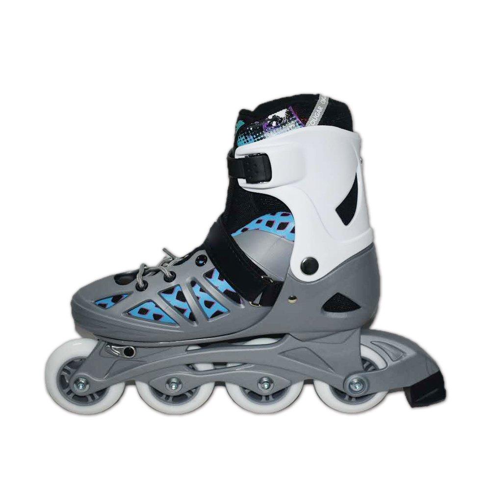 Blian Adult Inline Skates Rollerblades for Men Women Large Size 8 9 10 Speed Adjustable Roller Skates Black Silver
