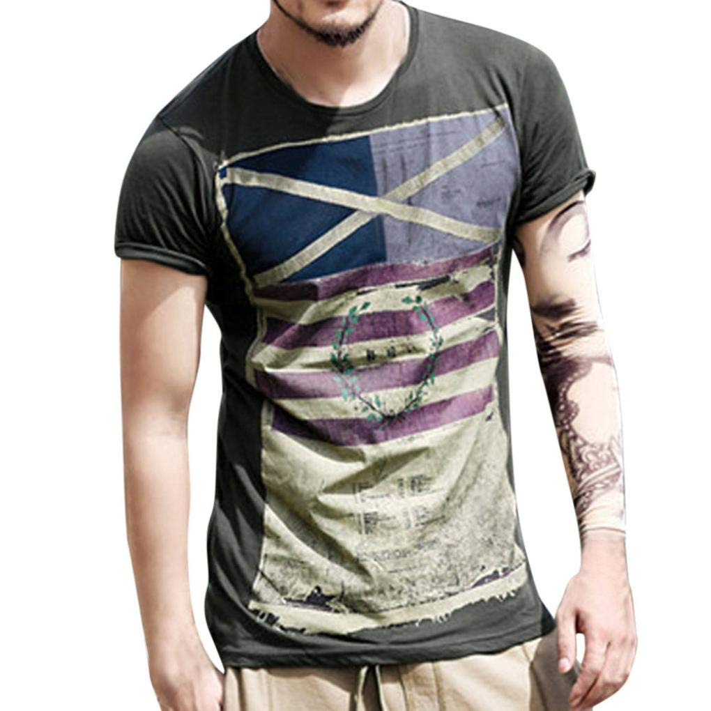 WUAI Clearance Sales Mens Summer Dress Short Sleeve Crewneck Fashion Flag Print Pullover Casual Shirts(Black,US Size M = Tag L)