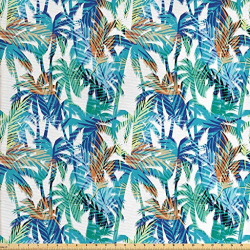 (Ambesonne Palm Leaf Fabric by The Yard, Tropical Summer Print with Palm Abstract Nature Pattern Fantasy Dream, Decorative Fabric for Upholstery and Home Accents, 1 Yard, Blue Mint Green Orange)