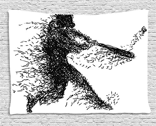 Illustrations Baseball (Ambesonne Black and White Tapestry, Abstract Artistic Illustration of a Baseball Player Posing Grunge, Wall Hanging for Bedroom Living Room Dorm, 60 W X 40 L Inches, Charcoal Grey White)