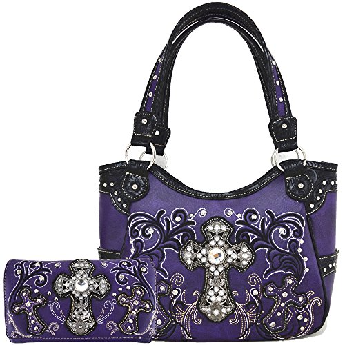 Western Style Rhinestone Cross Totes Purse Concealed Carry Handbags Women Country Shoulder Bag Wallet Set (Purple Set)