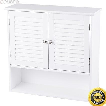 Wondrous Colibrox Bathroom Wall Storage Cabinet Double Doors Shelves Interior Design Ideas Ghosoteloinfo