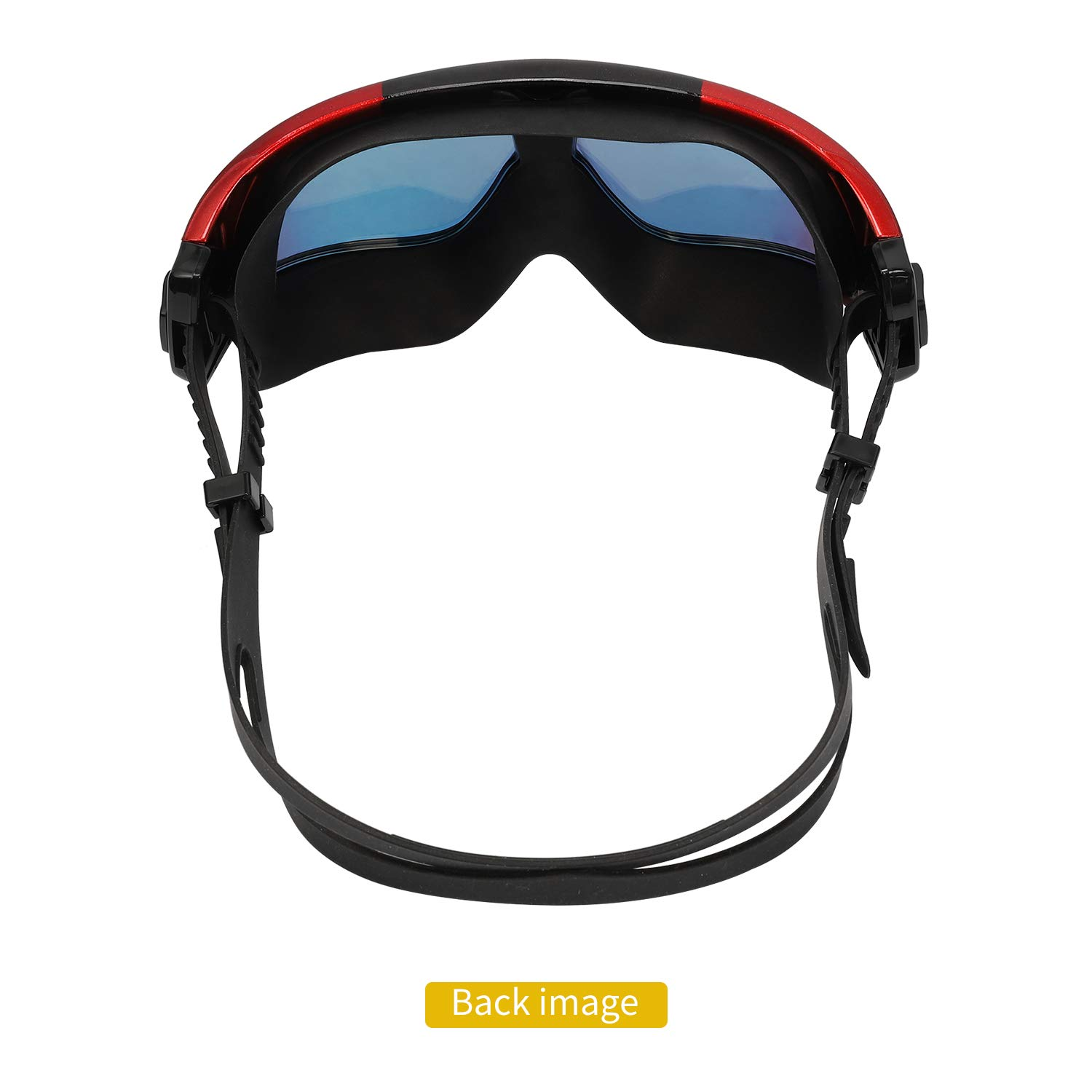 IOUTDOOR Swimming Goggles Large Frame Anti Fog No Leaking, Sports Goggles UV Protection with 180 Degree Vision and Soft Silicone Nose Bridge, Swimming Glass for Adult Youth Men Women (Black Red)