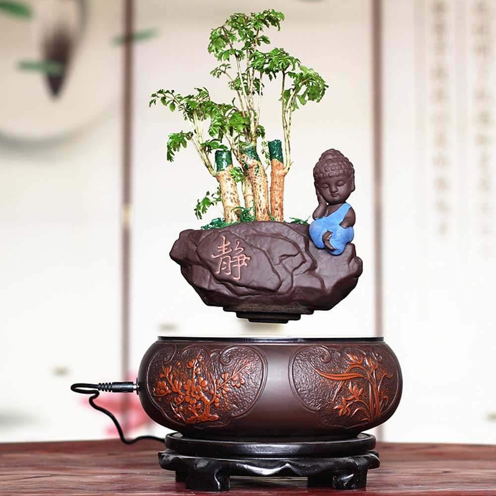 ZHIHUI Floating Bonsai Pot - Magnetic Suspension Levitating Air Flower Pots - Creative Design Levitation Bonsai - Home Office Decorations - Fun Gift,Bonsai-A(1000g) by ZHIHUI