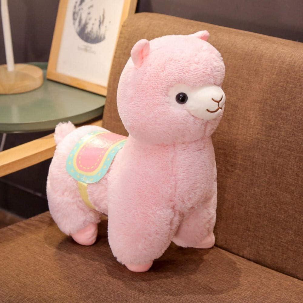 JMKHY Juguetes Blandos Animal de Dibujos Animados Hierba Barro Caballo de Peluche de Juguete Muñeca Sillín Muñeca de Tela de Alpaca para niños y niñas cumpleaños-50Cm_Pink