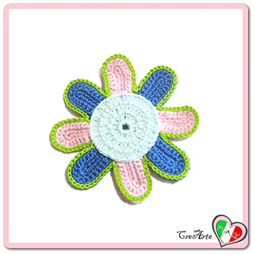 Flor aguamarina, azul y rosa para aplicaciones, broche o ...