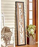 """Greet your guests with this 5-Ft. Country Welcome Sign on the front porch. It features burlap on the front with """"Welcome"""" stamped in a bold font, plus rustic thumbtacks near the edges. Prop it against a wall indoors oron a covered porch, or ..."""