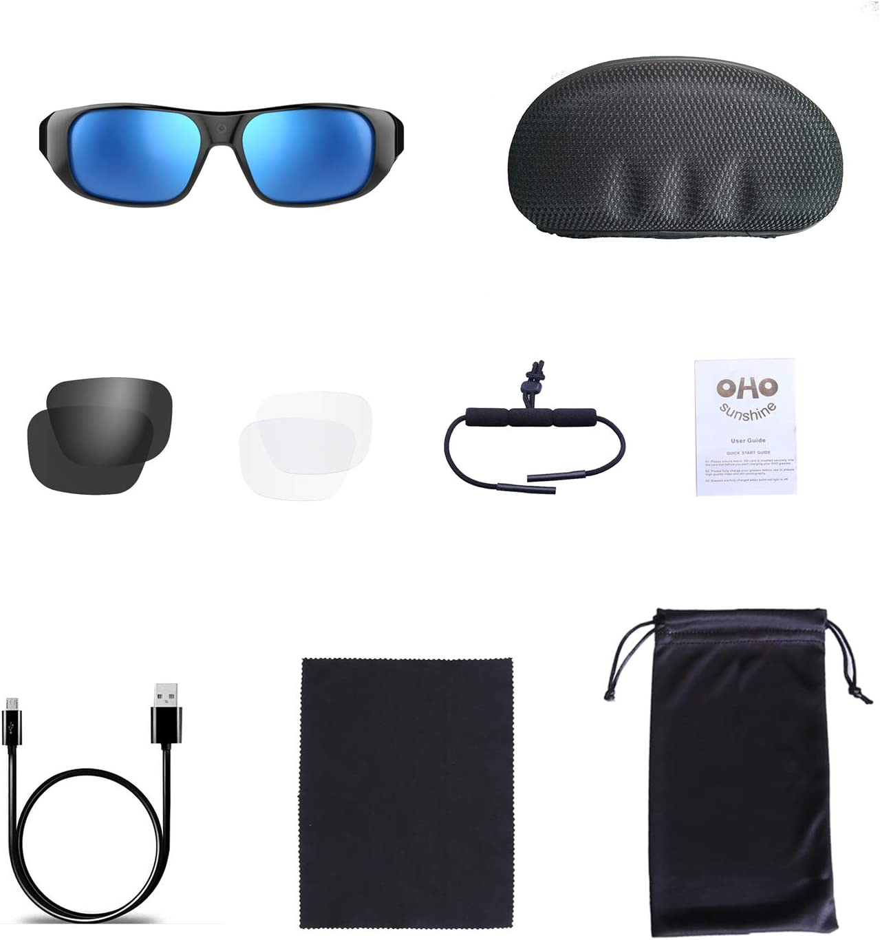 INCLUDED ACCESSORIES WITH OHO 4K ULTRA HD WATER RESISTANCE VIDEO SUNGLASSES