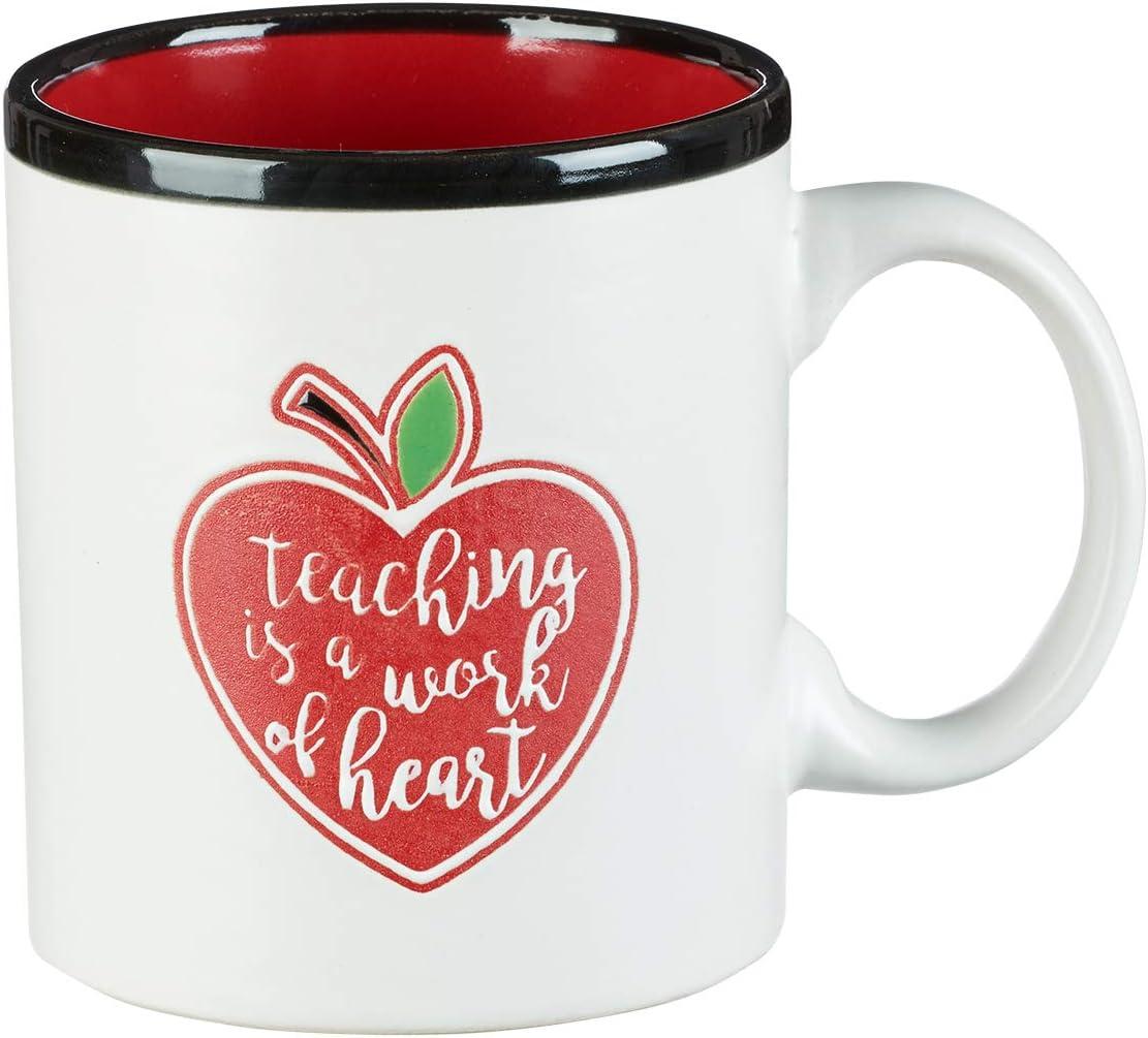 """Teaching is a Work of Heart""- Teacher Coffee Mug—White Ceramic Mug w/Red Heart Apple, Teacher Appreciation Gift & Drinking Mug (13 oz)"