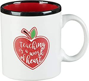 """Teaching is a Work of Heart""- Teacher Coffee Mug—White Ceramic Mug w/Red Heart Apple, Teacher Appreciation Gift & Drinking Mug (13 oz)"
