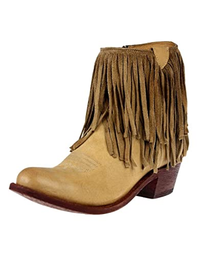 Western Boots Womens Fringe Cowboy Zipper Tan JR922-122R