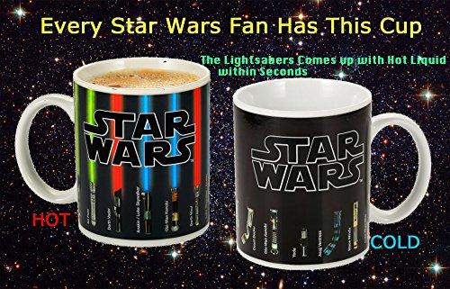 Coffee Mug - Star Wars Lightsaber Heat Chage Mug - Star Wars Cup 100 Percent Ceramic - Not Dishwasher or Microwave Safe - 12 Fl. Oz - Black - with Premium Stainless Steel Coffee Stir Bar