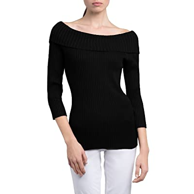 89th&Madison Ribbed Tunic Length Foldover Neck Off The Shoulder Sweater