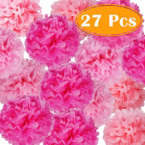 PAXCOO 27 pcs Tissue Paper Pom Poms Flowers for Valentine's Day Wedding Birthday Party -