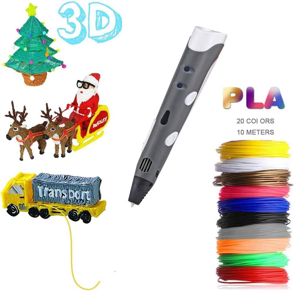Skiout 3D Pluma con 10 Colores Filamento,Bolígrafo de Impresión 3D Velocidades Ajustables Diseño de Seguridad Lápiz 3D Doodler para Manualidades Juguetes Niños y Adultos