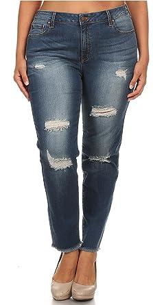 61996604eb196 Monotiques Women s Plus Size Mid Rise Mild Hand Sanding   Destruction  Skinny Jeans ...