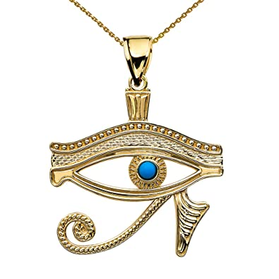 Amazon 14k yellow gold egyptian blue eye of horus pendant amazon 14k yellow gold egyptian blue eye of horus pendant necklace 16 jewelry mozeypictures Image collections