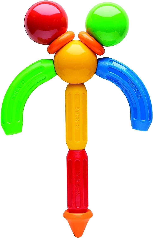 Rainbow Colors Educational STEM Construction Toy Ages 18M+ STICK O Basic 10 Piece Magnetic Building Set