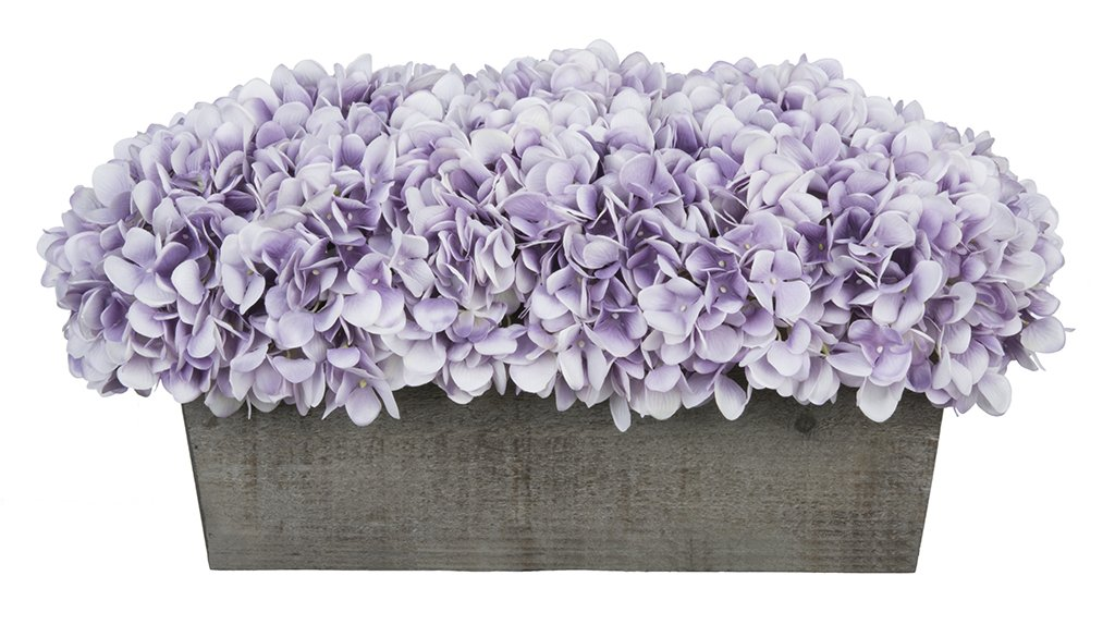 House of Silk Flowers Artificial Hydrangeas in Grey-Washed Wood Ledge (Lavender)