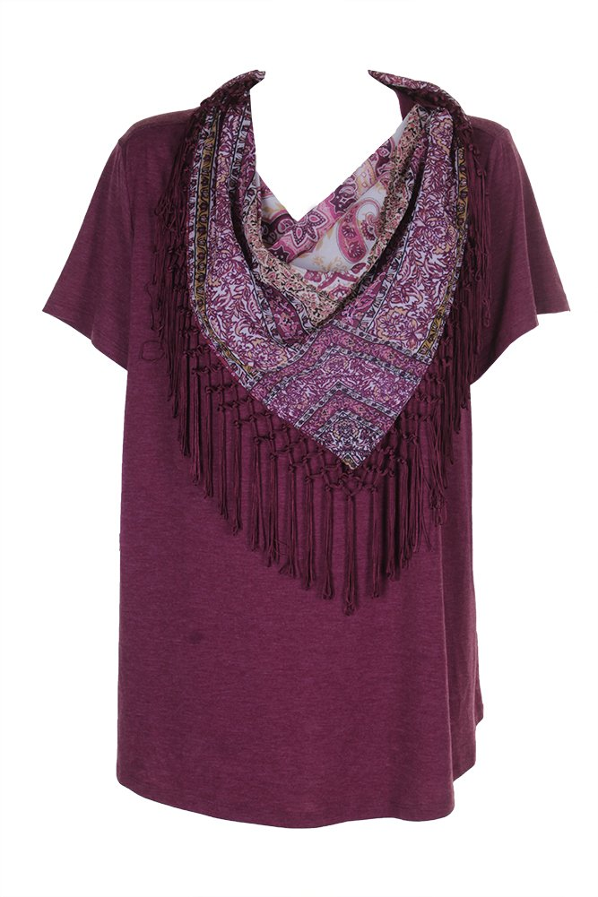 Style & Co. Plus Size T-Shirt with Fringe Scarf in Orchard Vine (3X)