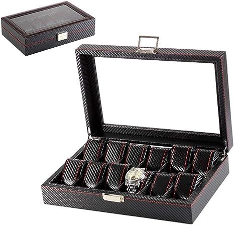 Estuche para Relojes12 Colecciones Pantalla De Reloj Caja De Almacenamiento DiseñO Fibra Carbono JoyeríA Pulsera Organizador Cuadrado Caja De Regalo Con Tapa Cristal (Negro): Amazon.es: Hogar