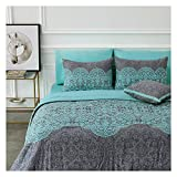 HuaFang Home 8 Piece Bed-in-a-Bag Comforter Set Includes 1 Comforter, 1 Decorative Pillow, 2 Shams, 4 Piece Sheet Set All-Season Printed Bedding Cotton Comforter Set (Olympia, Full)
