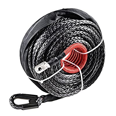 """(95ft x 3/8"""") 20000+ LBS Synthetic Fiber Winch Rope Cable w/ Sheath for SUV Jeep Recovery Black"""
