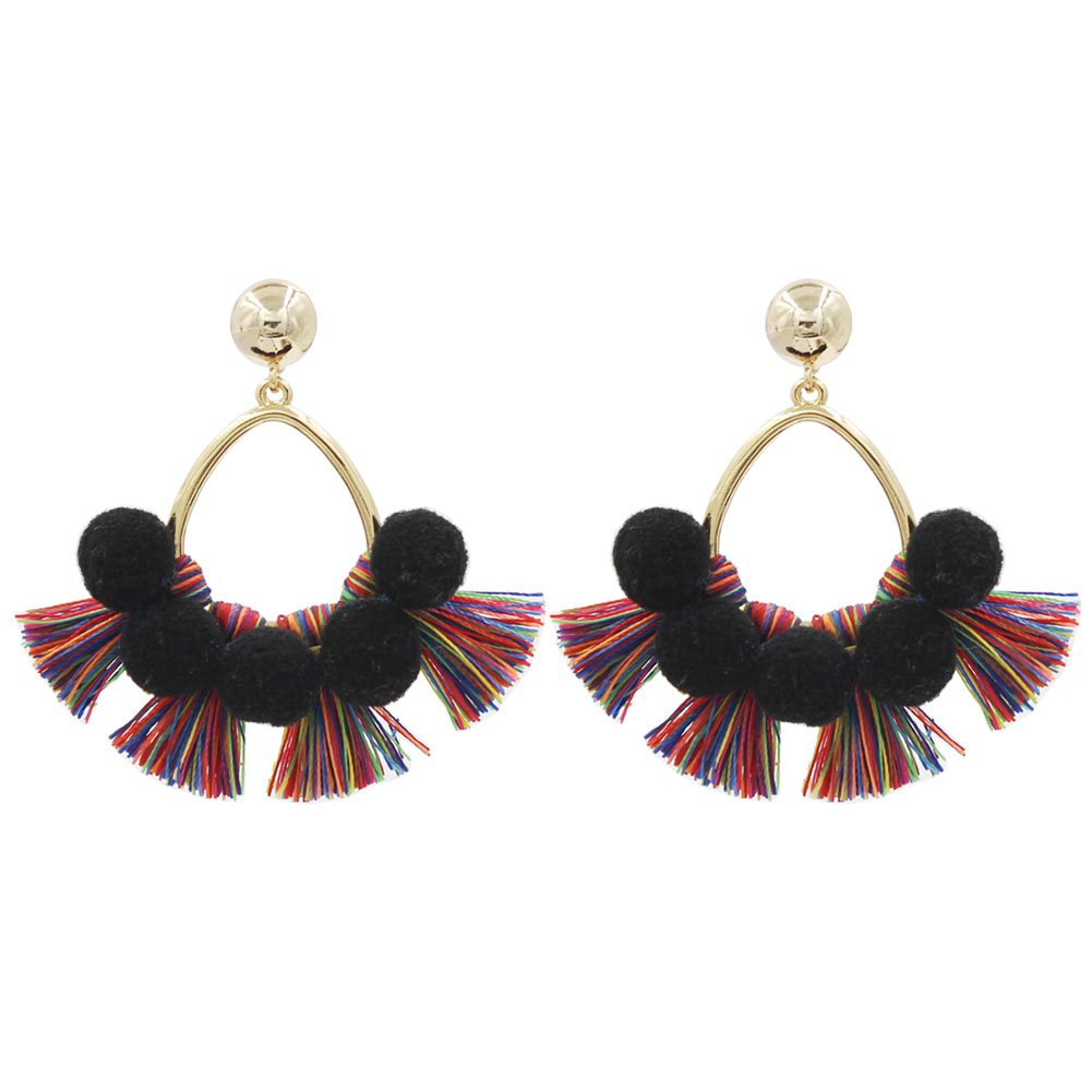 Darget Hoop Tassel Earrings Pom Pom Colorful Short Tassel Drop Dangle Stud Earrings for Women and Girls Party Special Days