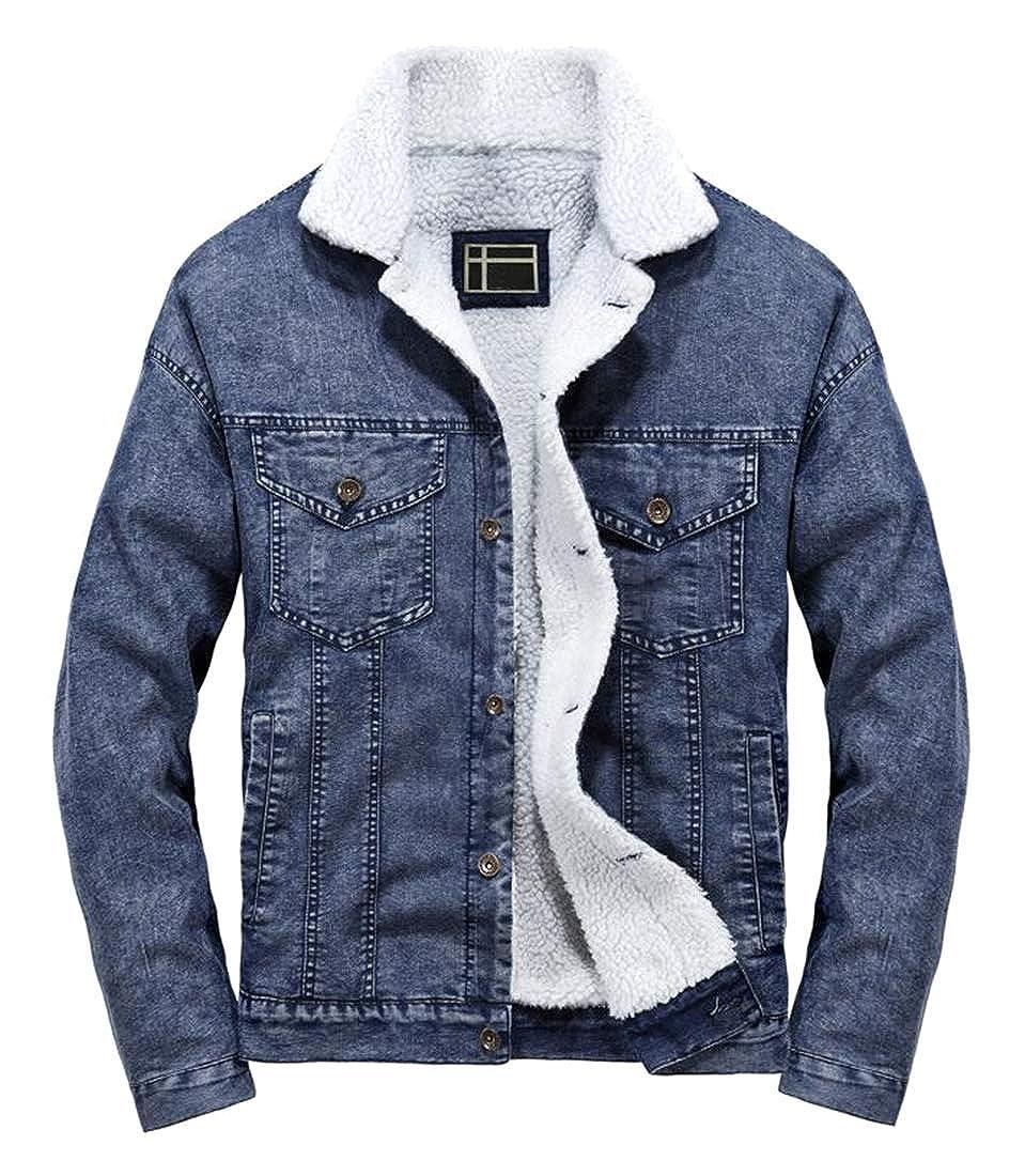 ARTFFEL Mens Winter Warm Faux Fur Lined Relaxed Fit Denim Down Coat Jacket Overcoat