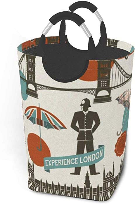 Collapsible Laundry Baskets London Symbols Landmarks Large Dirty Laundry Hamper Colapsable Collaspable Calaspable Fold Dorm Fabric Laundry Basket For Baby Girl Kids Sock Clothes Camp Travel Rectangle