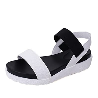 763d20a5f01a Image Unavailable. Image not available for. Color  Women Sandals 2018 Slip  On Flat Roman Sandals Black Sandalias Mujer Women Summer Sandal ...