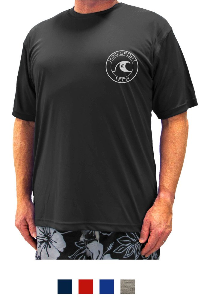 H2O Sport Tech Swim Shirt - Short Sleeve Black 5XLT #753A