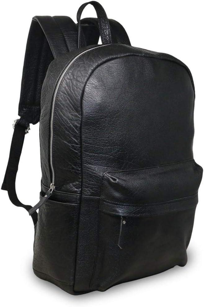 "18"" Black Genuine Leather Laptop Backpack Water Resistant Casual office work professional College Bookbag Comfortable Lightweight Travel Rucksack Men"