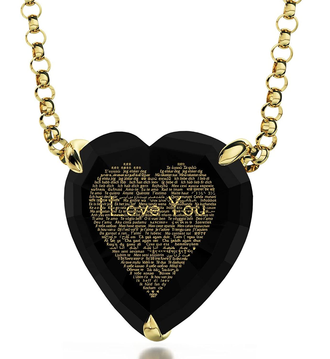 Amazon Gold Plated Heart Necklace I Love You Pendant 24k Gold