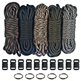 "Paracord 550  Kit - Five Colors (Olive Drab, ACU, Woodland Camo, Desert Camo, & Black) 100 Feet Total w/10 3/8"" Black Side Release Buckles & (5) 32mm Key Rings"