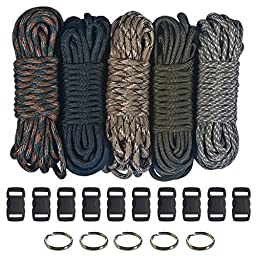 Paracord 550  Kit - Five Colors (Olive Drab, ACU, Woodland Camo, Desert Camo, & Black) 100 Feet Total w/10 3/8\