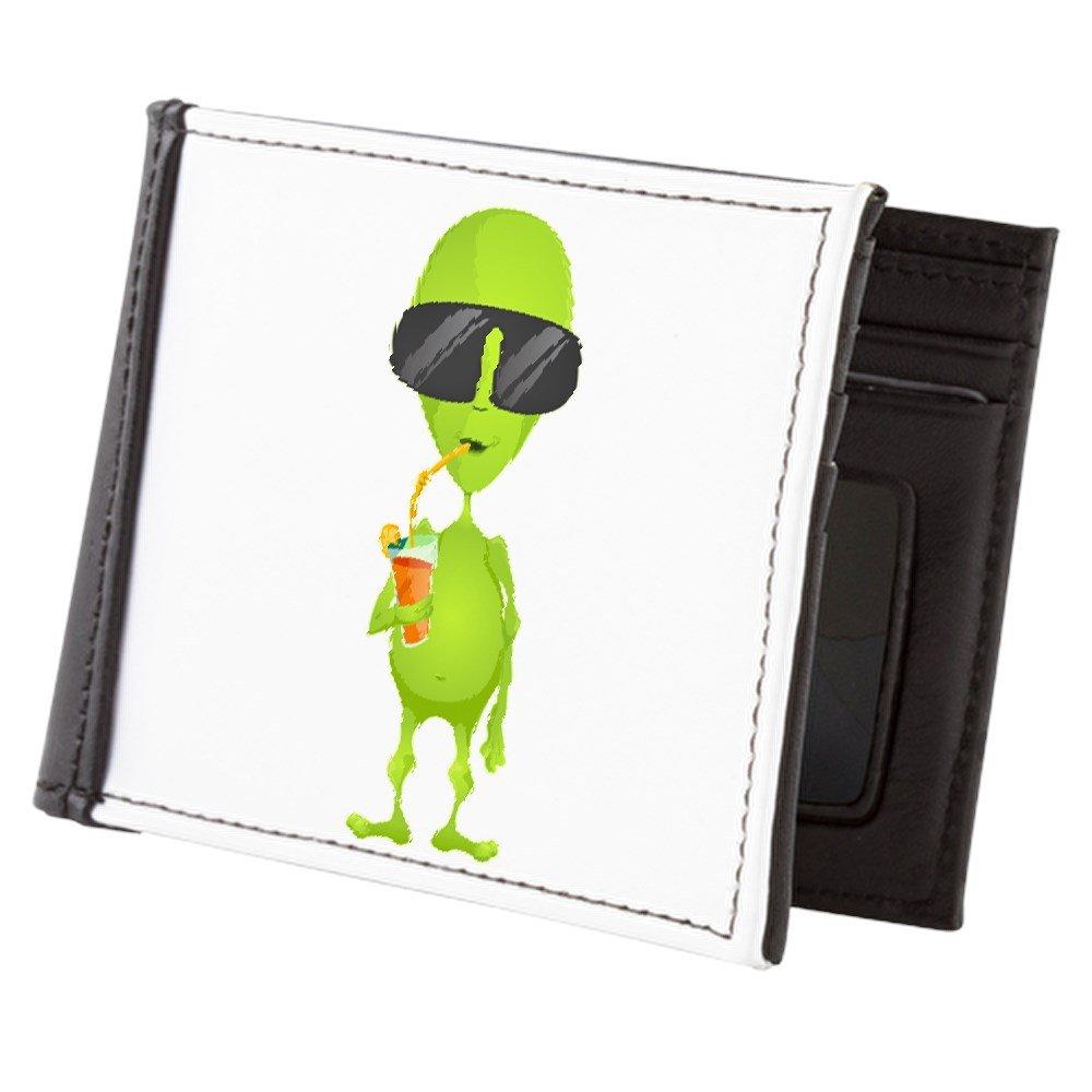 Truly Teague Mens Wallet Billfold Little Green Alien Sipping a Drink