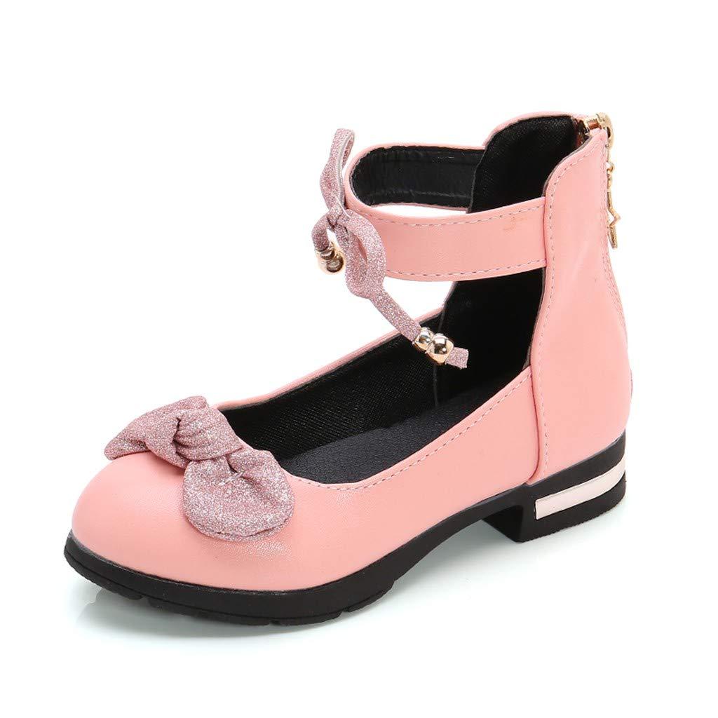 Kauneus Toddler Girls Closed Toe Bowknot Back Zipper Print Dress Shoes Mary Jane Princess Sandals (Little Kid/Big Kid) by Kauneus Kid Shoes NEW