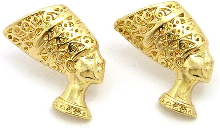 GWOOD Nefertiti Egyptian Queen Beautiful Woman Earrings Gold with Black Color Post Style Pierced